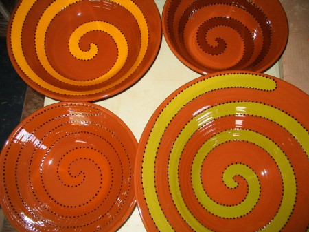 "handmade ""old style"" spiral bowls, our town pottery"