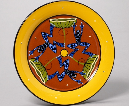 frog pinwheel platter, our town pottery, handmade earthenware