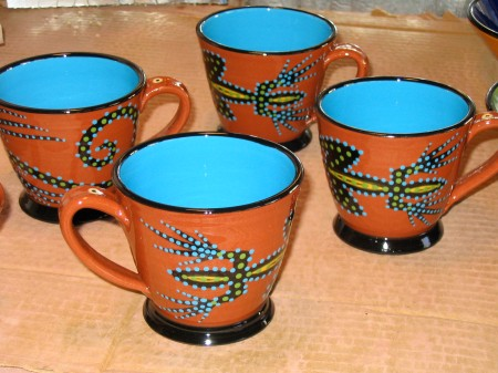 turquoise lizard cups, our town pottery, handmade earthenware