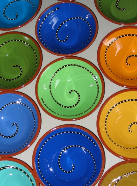 spiral bowls, our town pottery, handmade earthenware
