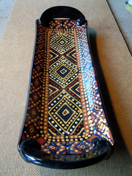 "magic carpet tray, 13x4"", our town pottery"